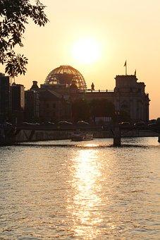 Sunset, Spree, Abendstimmung, Evening, River, Reichstag