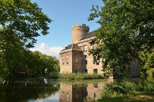 Castle, Fort, Manor, Castle Loenersloot, Water, Moat