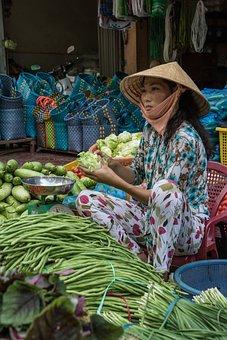 Vietnam, Market, Asia, Vietnamese Woman, Vegetables