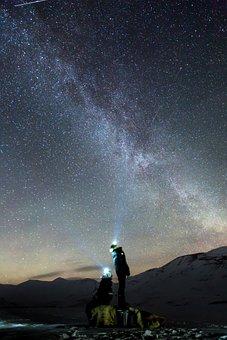 Galaxy, Northen Lights, Auroras, Arctic, Snow