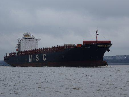 Ship, Container Ship, Water, Elbe, River, Freighter