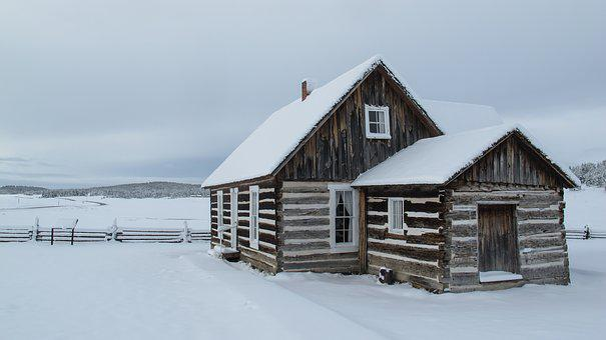 Snow, Log Cabin, Cabin, Winter, Rustic, Fence, Log