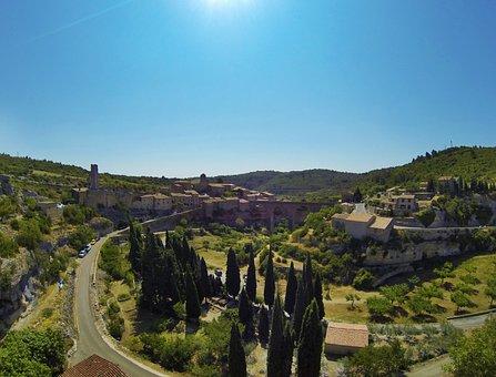 Minervois, France, Village, Sky, Tree, Path, Panorama