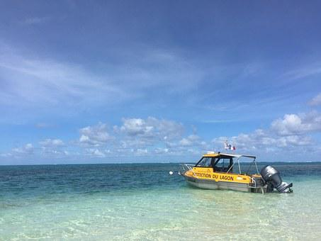 Ship, Blue Sky And The Sea, Yellow Boat, New Caledonia