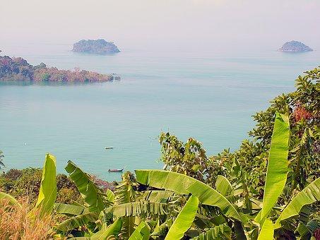 Sea, Landscape, Boat, Island, Thailand, Ko Chang