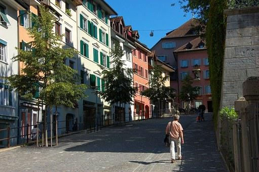 Switzerland, Bremgarten, Street Scene, Summer, Sunshine