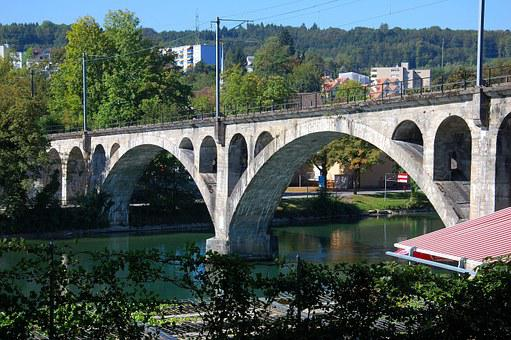 Switzerland, Bremgarten, Railway Bridge, River