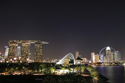 Singapore, Night, Dark, Light, Structure, Landmark