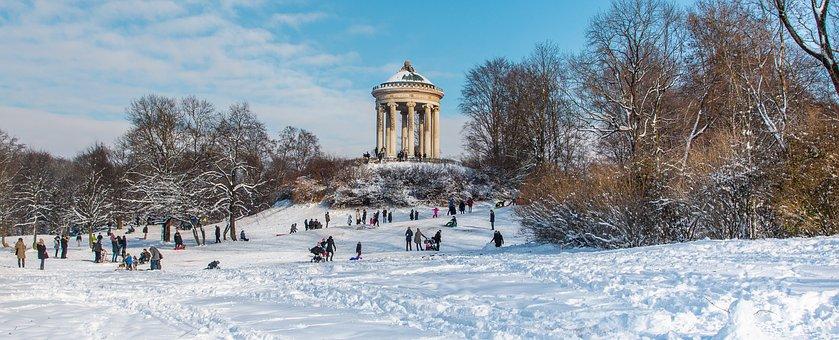 Munich, English Garden, Monopteros, Winter, Snow