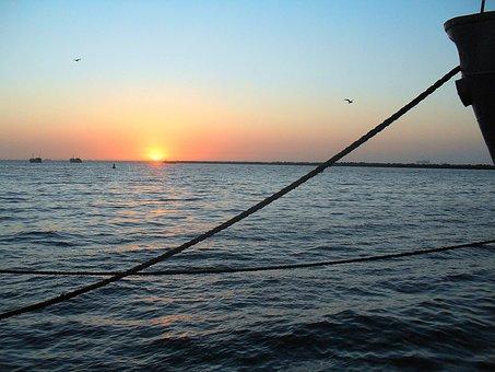 Sunset, Walvis Bay, Bay, Sea, Ocean, Water, Sun