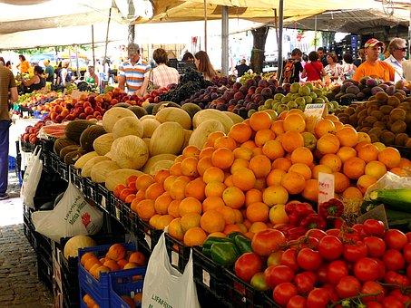 Market, Fruit, Vegetables, Spread, Power