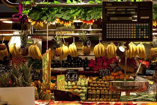 Market, Spread, Fruit, Vegetables, Bananas, Pineapple