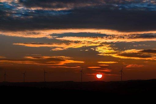 Sunset, Sun, Windräder, Clouds, Forest, Afterglow