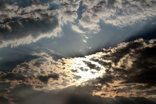 Sunlight, Sunrays, Rays, Clouds, Colorful, Deep