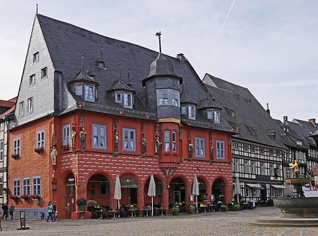 Marketplace, Goslar, Resin, Germany, Old Town, Facade