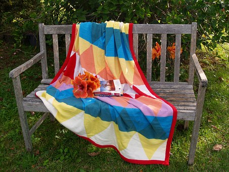 Bench, Seat, Rug, Wooden, Colorful, Books, Flowers