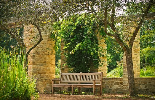 Park, Bank, Park Bench, Wood, Sun, Rest, Garden