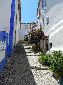 Obidos, Portugal, City, Houses