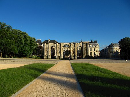 France, Castle, Landmark, Architecture, Grounds, Plaza
