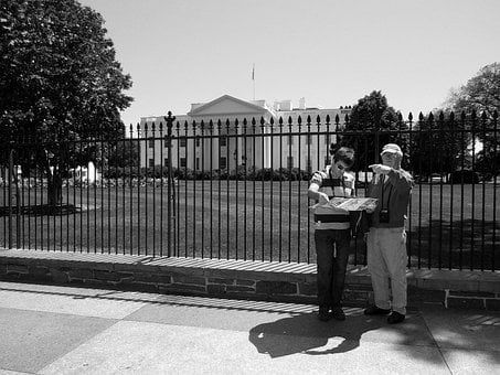 Tourist, Building, People, Lost, Map, White House