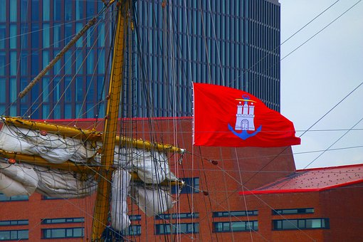 Flag, Hamburg, Red, Ship, Sailing Vessel