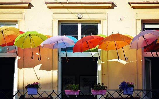 Umbrellas, Balcony, Colorful, Summer, Outdoor, Warsaw