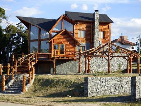 Facade, Wood, Stone, Construction, House, Villa, Field