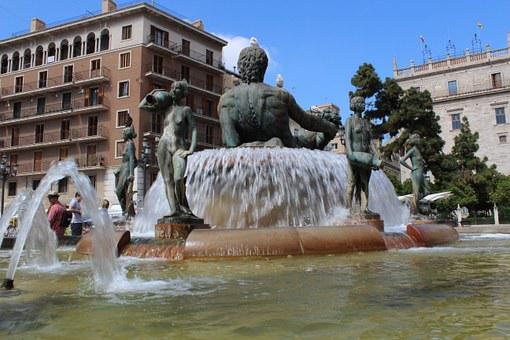 Valencia, Square Of The Virgin, Source, Monument