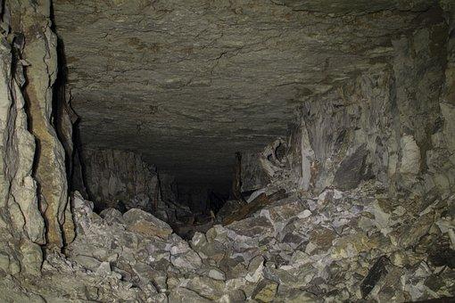 Cave, Gallery, Subterranean, Stones, Ground, Dark