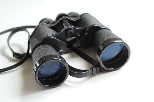 Binoculars, Old, Antique, Equipment, White, Spy