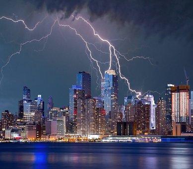 New York, Lightning Storm, Lightning, Storm, Sky, City