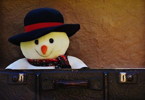 Winter Ade, Snow Man, Send Away, Luggage, Antique