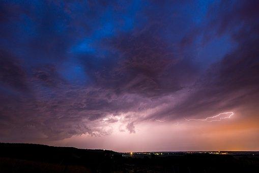 Thunderstorm, Night, Landscape, Sky, Flash