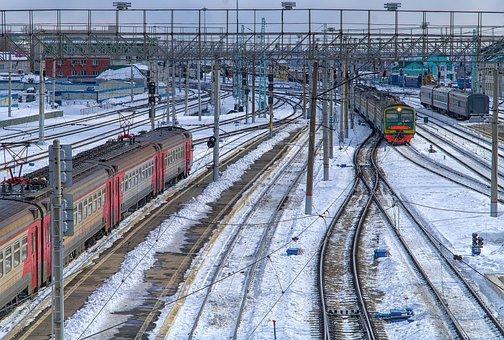 Railway, Winter, Train, Node, Motion, Electric Train