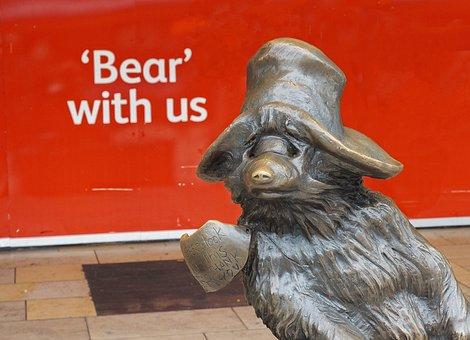 Paddington, Bear, Bear With Us, Station, London, Statue