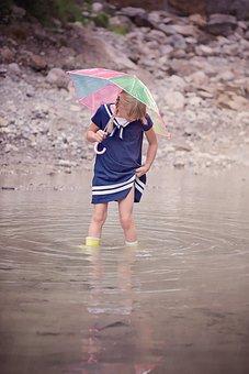 Girl, Person, Human, Child, Water, Bach, Rain
