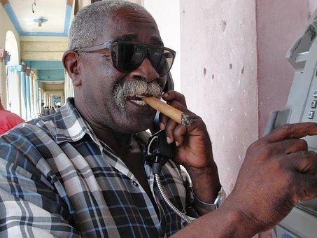 To Call, Cuba, Man, Sunglasses, Telephone, Call, Cigar