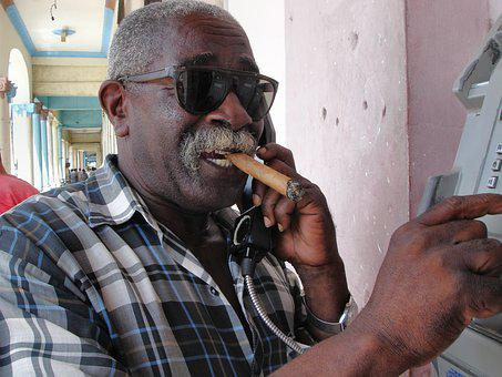 To Call, Cuba, Man, Sunglasses, Telephone, Call, Cigar