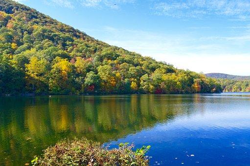 Lakeside, Fall, Mountains, Hillside, Water, Blue Sky