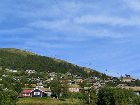 Village, Slope, Homes, Settlement, Summer, Ski Lift