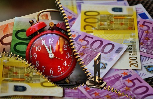 Time Is Money, Currency, Euro, Clock, Alarm Clock