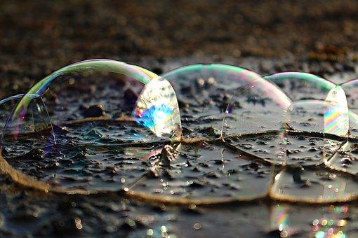 Blow, Water, Puddle, Soap Bubbles, Air Bubbles, Blubber