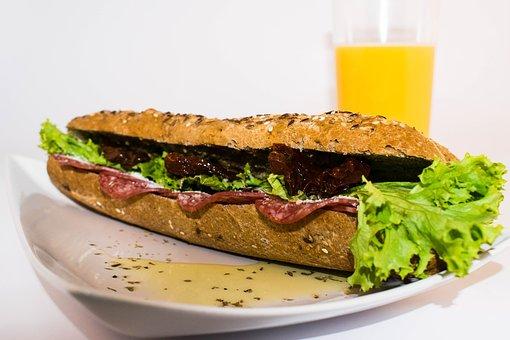 Breakfast, Orange Juice, Sandwich, Food, Bread, Salad