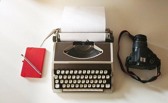 Photo, Camera, Note Book, Paper, Pen, Typewriter