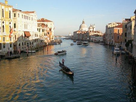 Grand Canal, Venice, Gondola, Italy, Italian, Venezia