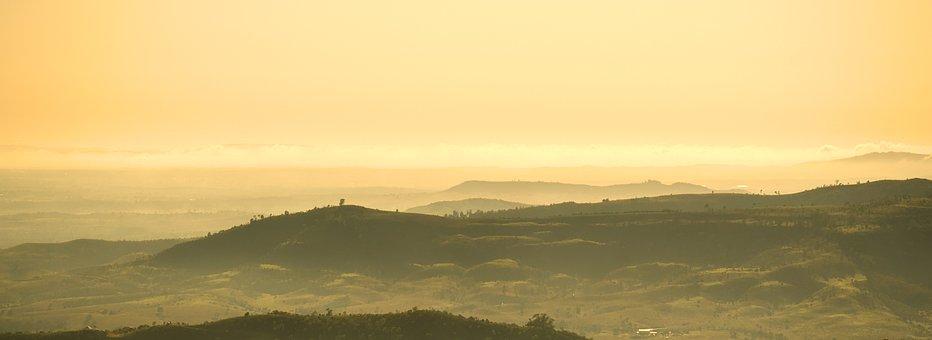Landscapes, Warm, Sunrise, Nature, Mountains, Sky