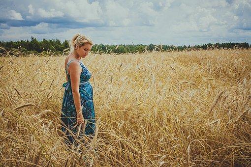 Field, Girl, Summer, Woman, Sky, Wheat, Harvest, Spikes