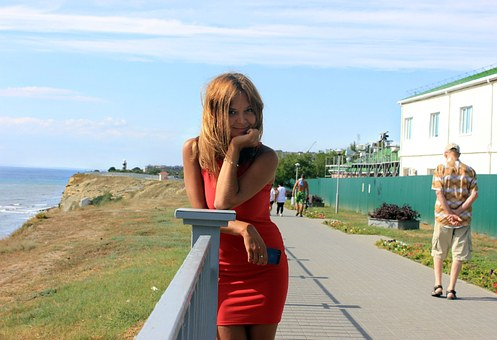 Sea, Visoky Bereg, Girl, Red Dress