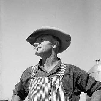Old Man, Hat, Farmer, Smoking, Vintage, 1930's, Person