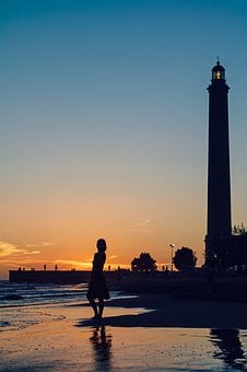 Sunset, Young Woman, Woman, Lighthouse, Faro